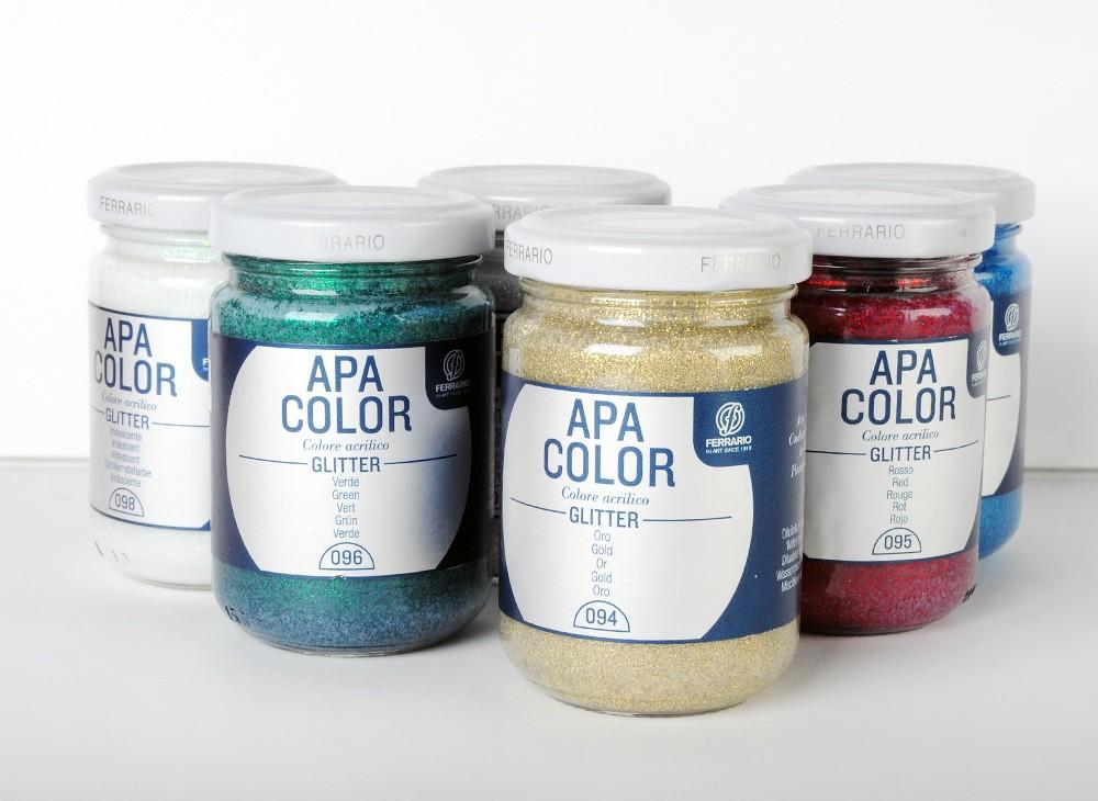 Ferrario Apa Color akrilna barva Glitter (z bleščicami) 150 ml - 6 barvih odtenkov